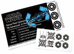CUSTOM-STICKERS-for-STAR-WARS-Lego-8017-10175-75082-VADER-039-s-TIE-ADVANCE-FIGHTER