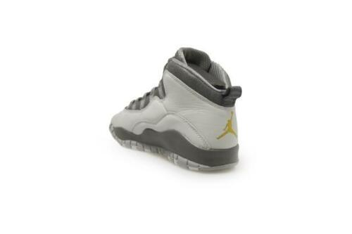 310806-004 Grey Gold Trainers Juniors Nike Air Jordan 10 Retro BG
