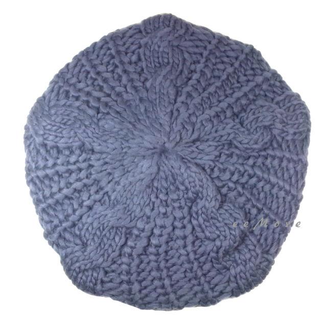 Knitted Beret Crochet Braided Hat Beanie Cap Women Winter SILVER US Stock