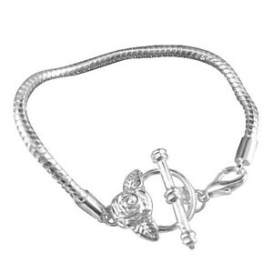"""Tubular Mesh Chain 5.75/"""" Antiqued Silver Toggle Clasp BRACELET For Charm Beads"""