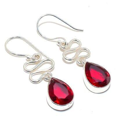 8.50 Gm Natural Red Garnet Earring 925 Sterling Silver Wedding Earring Faceted Garnet Silver Jewelry AAA+++Garnet Earring Size 3 Inch  J-106