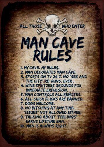 Calavera Cueva de hombre reglas Letrero De Metal