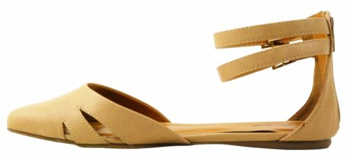 NEW Women Cute Faux Leather Ankle Strap Point Toe D/'ORSAY Ballet Flat All Size