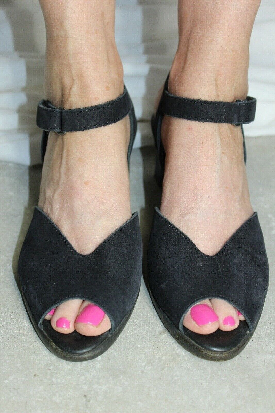 ARCHE black suede peep toe heels sandals pumps womens dancing shoes sz 40 8
