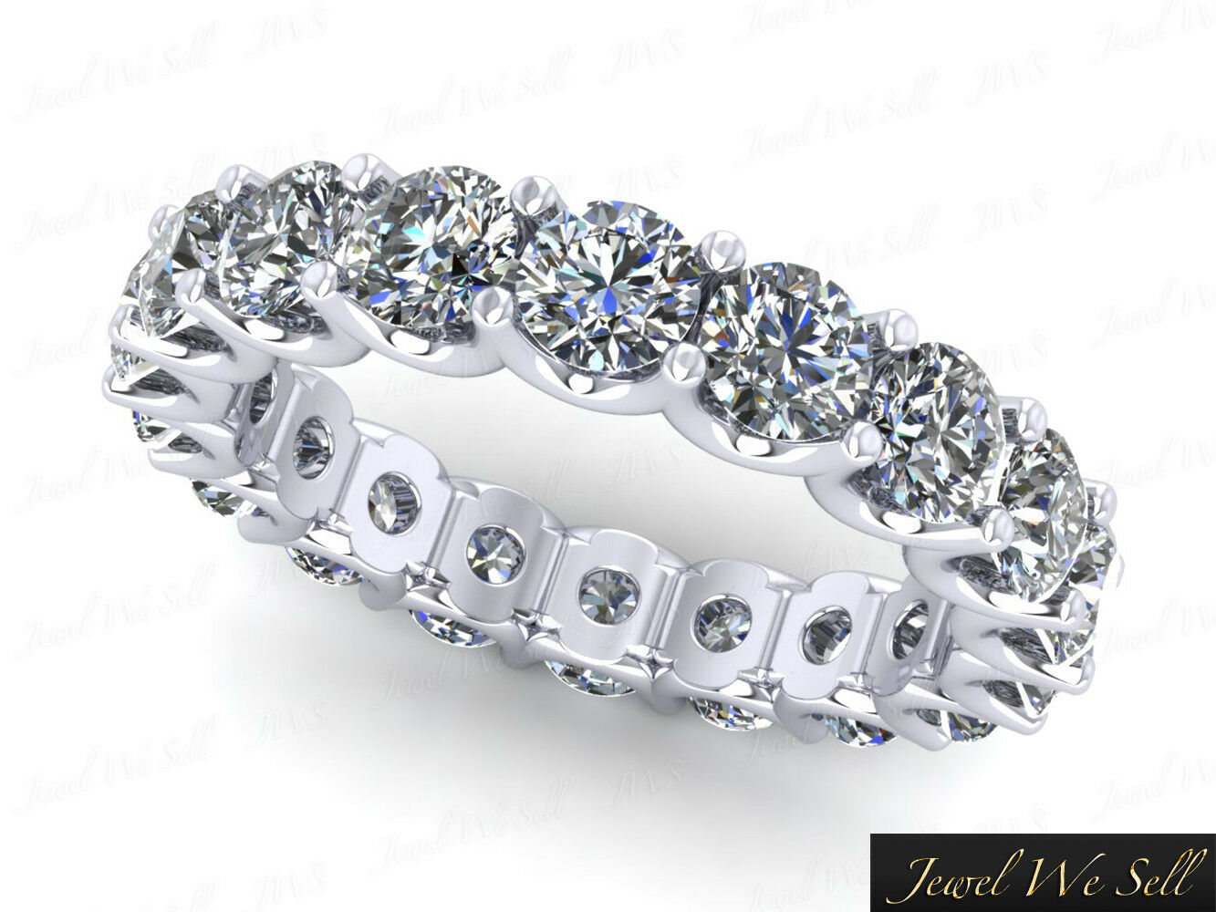 2.85Ct Round Diamond Shared U-Prong Wedding Eternity Ring 10k White gold H SI2