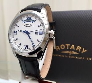 Mens-Rotary-watch-Day-amp-Date-Blue-Numerals-Dolphin-Standard-RRP-230-r99