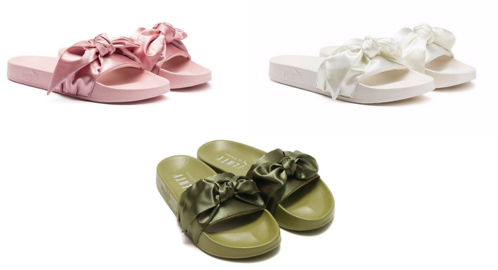 Puma Rihanna Fenty Bow Slides Olive Green Pink Silver White Slippers