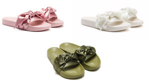 low priced c2e7b df154 Details about Puma Rihanna Fenty Bow Slides Olive Green Pink Silver White  Slippers Sandals