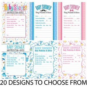 Purple Dots Theme Pack of 16 A6 Cards Baby Shower Prediction /& Advice Games