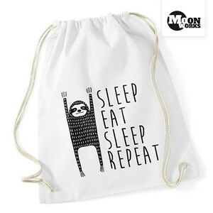 Turnbeutel-Spruch-Sleep-Eat-Sleep-Repeat-Faultier-Sporttasche-Moonworks