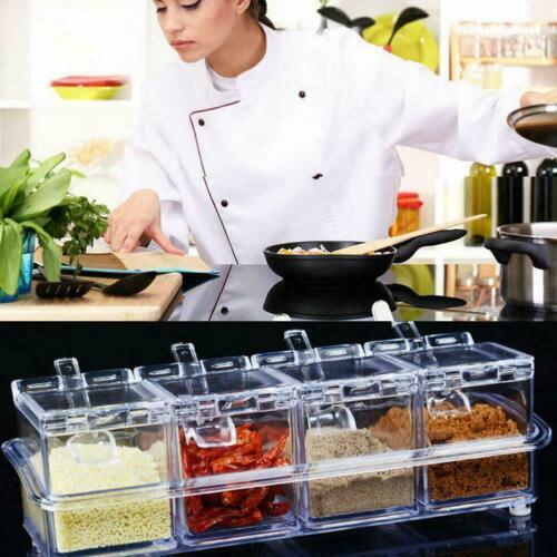 4Pcs//Set Transparent Seasoning Salt Sugar Storage Box Spice Kitchen Box W9M8