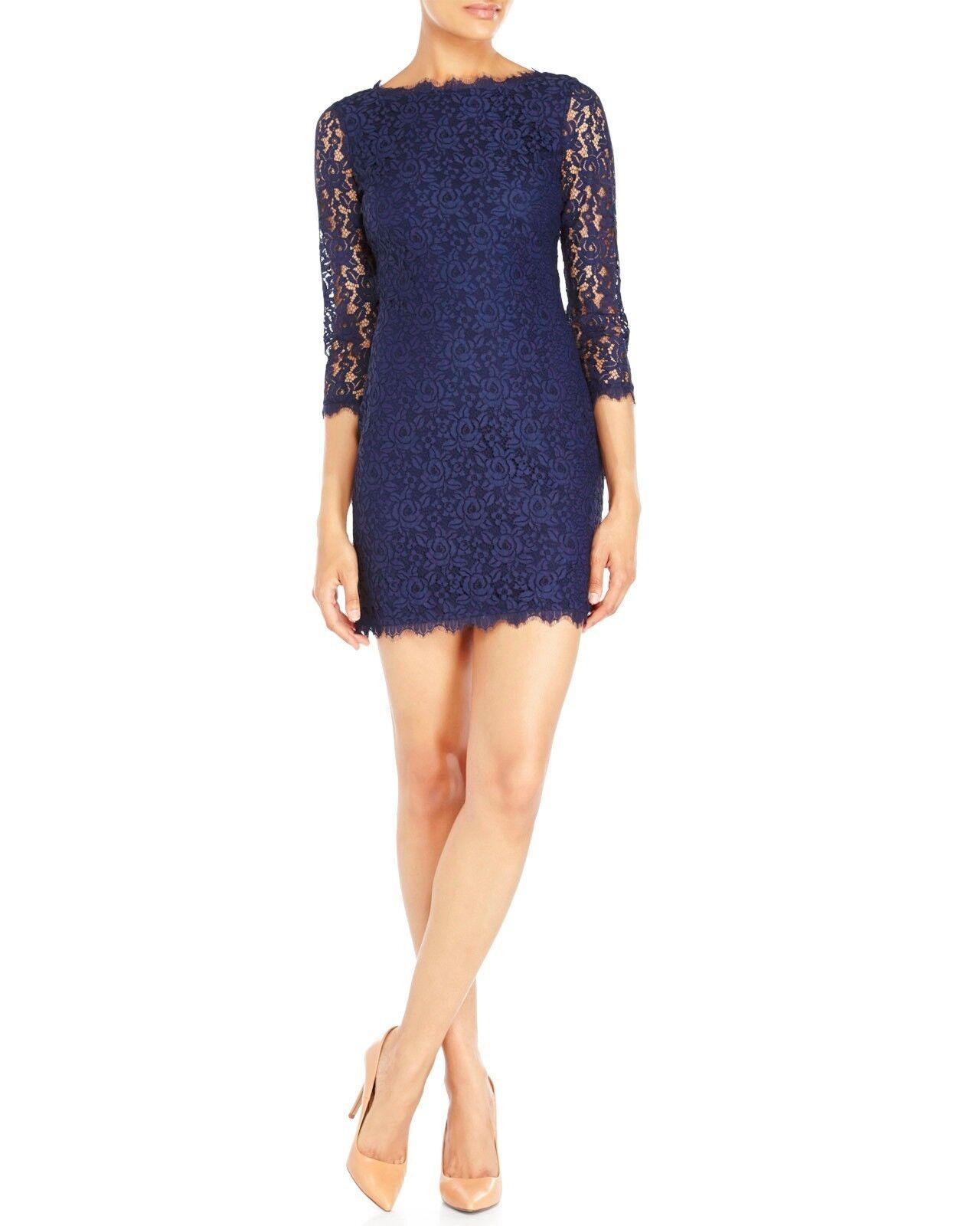 348-NWT Diane Von Furstenberg DVF Colleen Lace Sheath Shift Dress, Navy, size 6