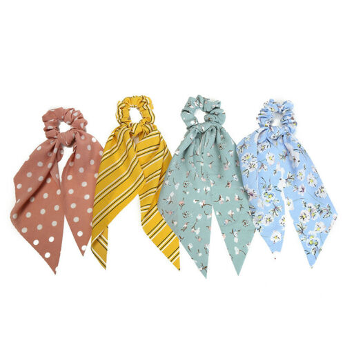 Simple Dot Stripes Floral Scrunchie Bow Streamers Hair Ties Ponytail Hair Ropes
