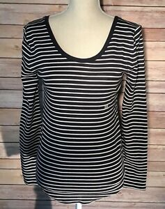 Ann-Taylor-LOFT-Womens-Black-White-Stripe-Scoop-Neck-Long-Sleeve-Shirt-Small-NWT