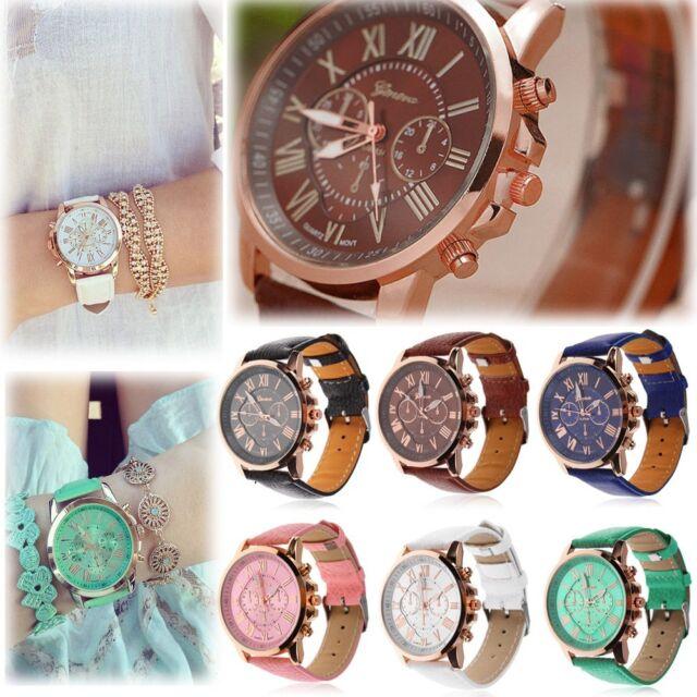 New Women's Fashion Geneva Roman Numerals Faux Leather Analog Quartz Wrist Watch