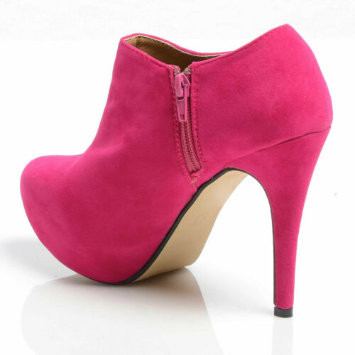 NEW WOMENS CONCEALED PLATFORM SHOE ANKLE BOOTS HIGH HEEL STILETTO LADIES