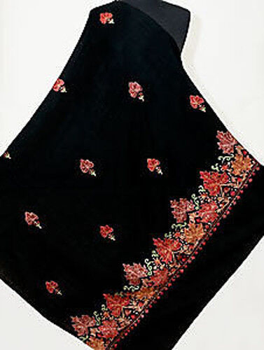 Large Embroidered Black Wool Shawl Red /& Beige Leaves Crewel Embroidery Pashmina