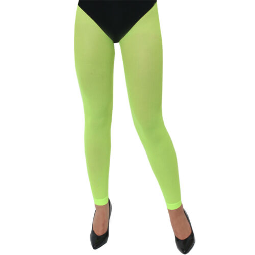 ADULTS GREEN NEON FOOTLESS TIGHTS 80S 90S PARTY RAVE LADIES FANCY DRESS