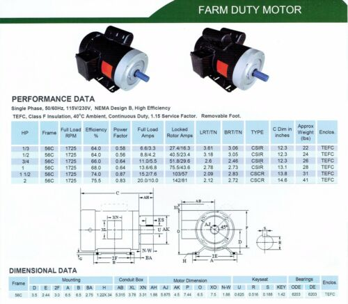 Rolled Steel Farm Duty AC Motor 1//2HP 1800RPM 56C Removable Feet Single Phase