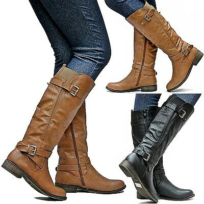 New Women TF4 Black Camel Tan Buckle Biker Knee High Riding Boots