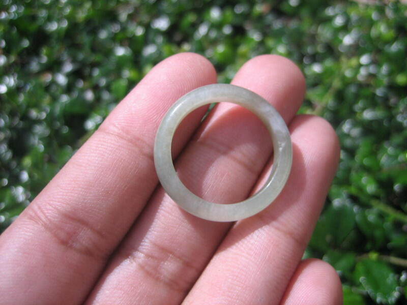 Natural Jadeite Jade Ring Thailand Jewelry Stone Mineral Size 9.5 Us E 5994