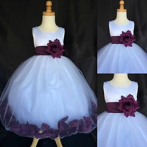 0c58efa5b23 Plum Rose Petal Dress White Tulle Satin Wedding Flower Girl Fall ...