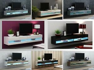 Phenomenal Details About High Gloss Tv Stand Cabinet With Led Lights Entertainment Floating Wall Unit Download Free Architecture Designs Scobabritishbridgeorg