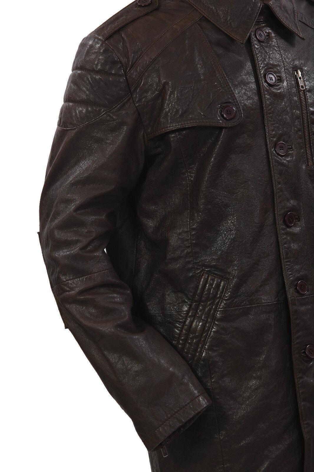 Infinity Herren Herren Herren Lang Militär Weich Distressed Braunes Leder Trenchcoat | Vorzügliche Verarbeitung  45e2a1