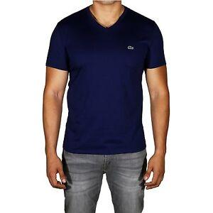b148d0d3 Lacoste Men's V-Neck Pima Cotton Jersey T-Shirt Short Sleeve TH6710 ...