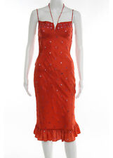 PLENTY Orange Silk Knit Design Bead Detail V Neck Halter Sun Dress Sz P