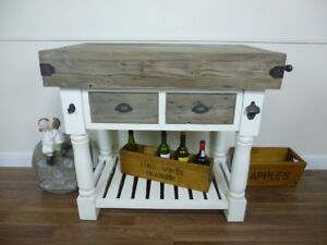 Farmhouse-Style-Butchers-Block-Bench-Two-Drawer-Solid-Wood