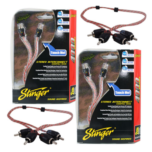 Stinger SI421.5 RCA Interconnect Audio 1.5ft Cable for 4-Channel Install Two 2
