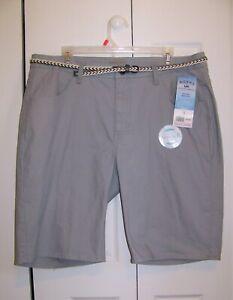 Women's Lee Riders Midrise Bermuda Stretch Denim Shorts, Sleet, Size 18, NEW