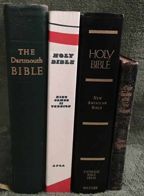 Lot of 4 Bibles KJV KJ II New American Moffatt Leather Paperback Vintage Decor