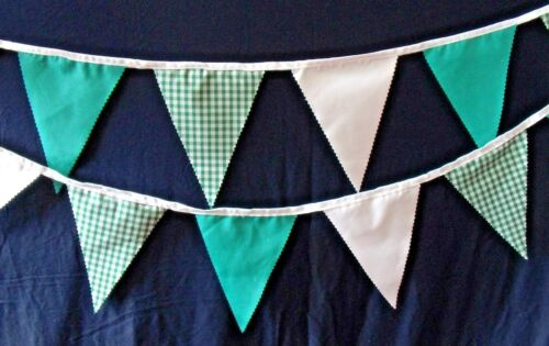 Various lengths. White and Check Hand Crafted Fabric Bunting in Green