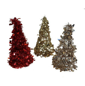 Details About Small Festive Tinsel Christmas Tree Decoration Red Champagne And Gold 26cm Tall