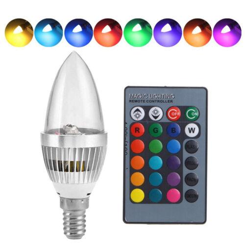 E12 E14 RGB LED 16 Couleurs Changeantes Ampoule Bougie Télécommande pour Bar KTV