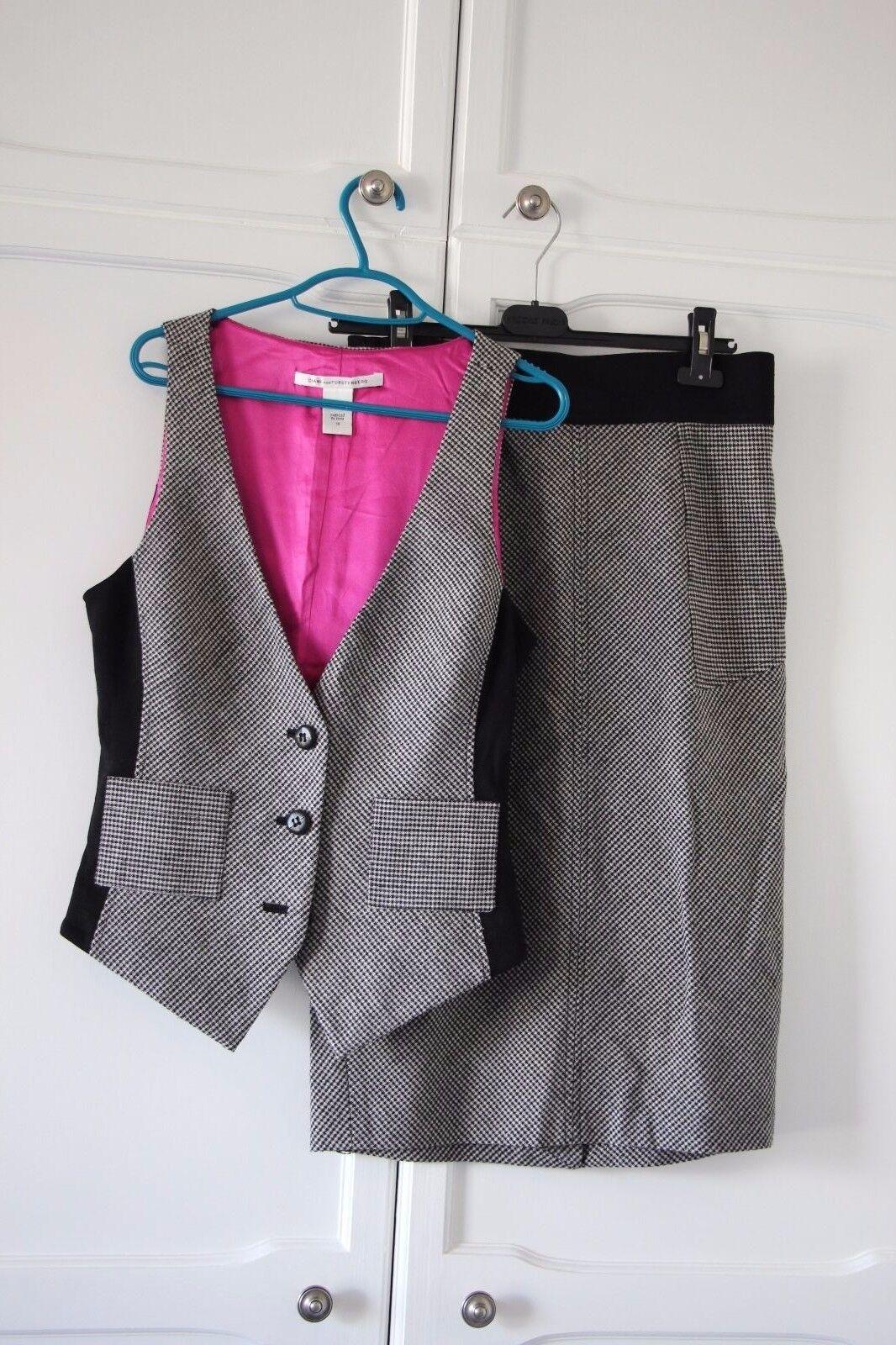 Diane Von Furstenberg Suit Skirt Waistcoat Grey Houndstooth Wool 12 14 Medium L