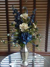 Silk Floral Flower Arrangement Blue Hydrangea and Cream Magnolias