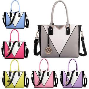 Large-Ladies-Handbag-PU-Leather-Structure-Contrast-Shoulder-Tote-Bag