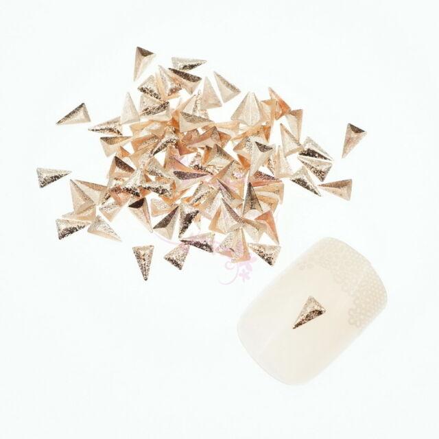 200PCS Triangle Frosted Design 3D Metallic Rivets Studs Rose Gold Nail Art Decor