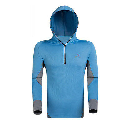 Mens Quick Dry Sun Protection Fishing Hoodie Shirt Long Sleeve Casual Golf Tops