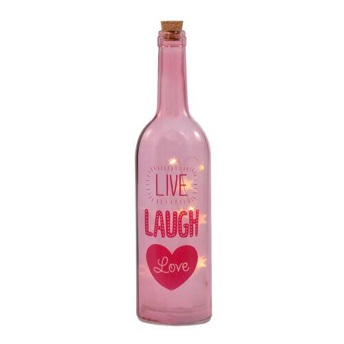 LIVE LAUGH LOVE ILLUMINATED WINE BOTTLE DECOR LED STAR LIGHT MESSAGE GIFT 29CM