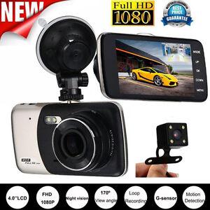 Dual Lens 4'' HD Vehicle Car Dash Cam Rear Video Camera Recorder DVR G-Sensor