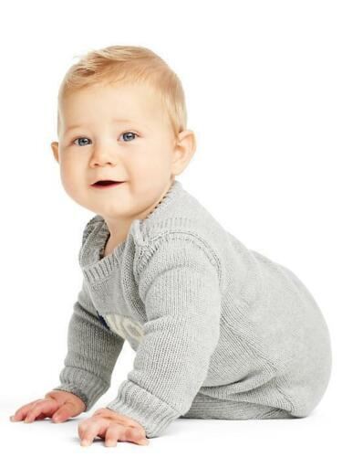 """GAP Baby Boys 0-3 Months Gray /""""I Love You/"""" One-Piece Sweater Bodysuit Romper"""