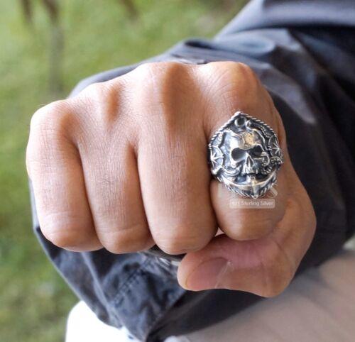 Compass Skull 925 Sterling Silver Oxidized biker rider bobber Mens Ring