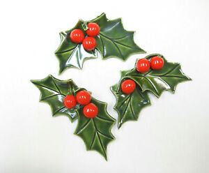 Ceramic Lifesize Holly Sprigs w/ Bright Red Berries Holiday Table Decor Set of 3