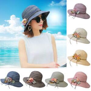 b5f17531 Fashion Summer Women Ladies Beach Sun Visor Wide Brim Stripe Floppy ...