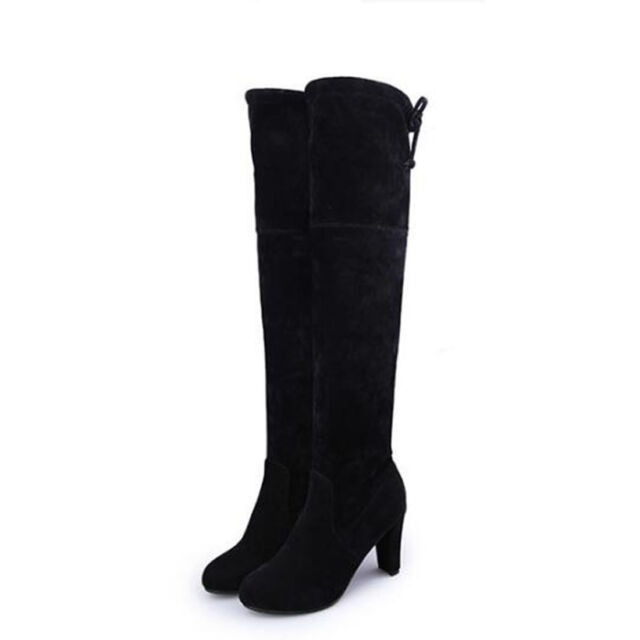 Spring Womens Ladies Thigh High Boots Over The Knee Party Block High Heel Shoes
