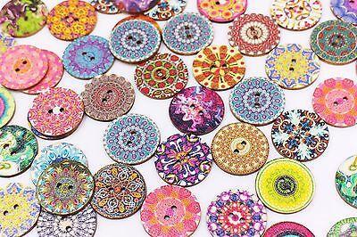 Colorful Wooden Button Boho Bohemian Ethnic Four Holes Hippie DIY 15mm 20pcs